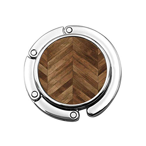 Niedliche Faltbare Geldbörse Kleiderbügel Geldbörse Haken brauner Boden Holz Parkett Chevron Old Herringbone Dark Pattern