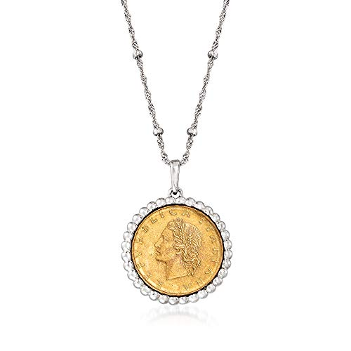 Ross-Simons Italian Genuine 20-Lira Coin Pendant Necklace in Sterling Silver. 18 inches