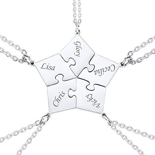 U7 Puzzle Pentágulo Dividido 5 Piezas con Cadena Fina Acero Inoxidable para Muchachas Joyería Personalizada de Amor y Amistad para Siempre Collares Rompecabezas para Familias