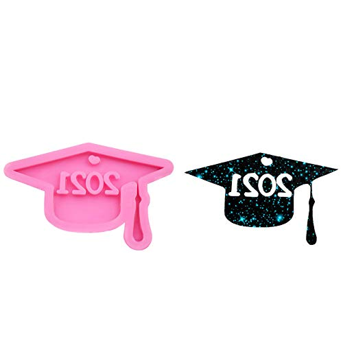 2021 Graduation Cap Silicone Mold, Graduation Doctor Hat Chocolate Fondant Mold Handmade Soap Candy Ice Cube Jelly Mould Funny 3D Baking Decorating Molds for Graduation Party Decoration (1PC-Pink)