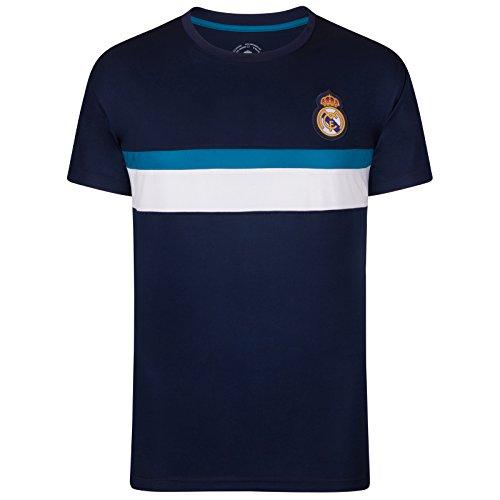 Real Madrid - Herren Trainingstrikot aus Polyester - Offizielles Merchandise - Geschenk für Fußballfans - Dunkelblau - S