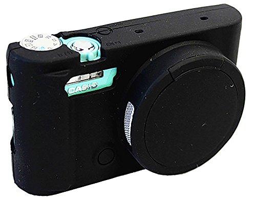 Sacchetto della copertura della lente rimovibile in silicone protettiva del gel molle di gomma della macchina fotografica caso della copertura per Casio ZR5500 fotocamera nero
