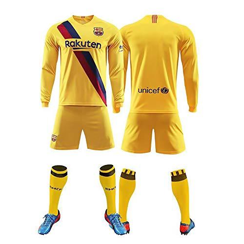 Momoba Personalisiertes Langarm Fußball Fussball Uniform Trikot Kinder Herren 2019-2020 (Heim/Auswärts) T-Shirt Shorts Socken 3 Stück Set Mit Name und Nummer