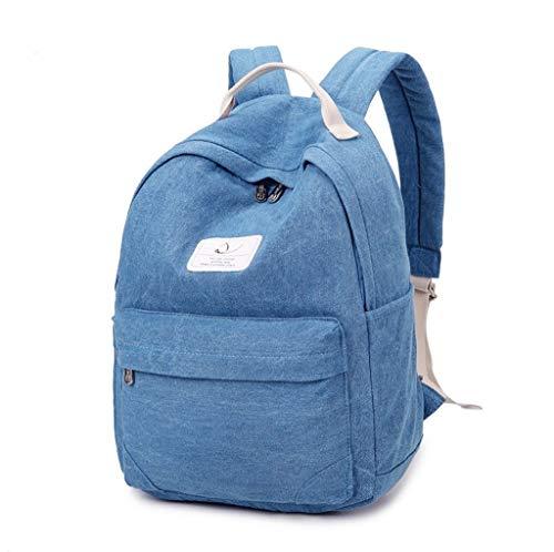 Unbekannt Einfacher Cowboy-Rucksack, Studententasche der weiblichen koreanischen Schule, einfarbiger Reiserucksack der Harajuku-Universität. (Farbe: Hellblau)