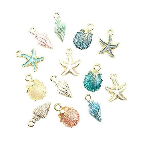 13 Pcs Starfish Conch Sea Shell Pendants Mixed Random DIY Charms Sea Necklace Pendant for Women Jewelry Handmade Nautical Ocean Shell Enamel Craft Accessory PortableandPractical