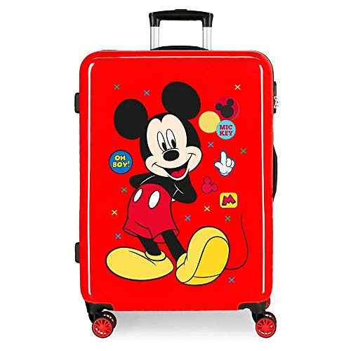 Disney Mickey Enjoy the Day Red Medium Suitcase 48x68x26 cm Rigid ABS Combination lock 70 Litre 3.7 Kg 4 Double Wheels
