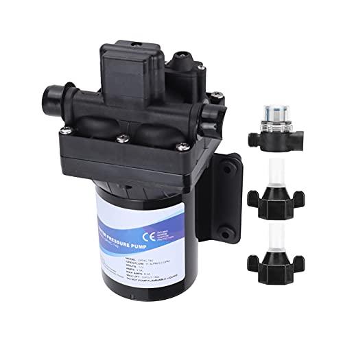 KIMISS Bomba de agua dulce, batería de CC Bomba de diafragma Tipo de interruptor eléctrico Autocebado de alta presión de 4 cámaras