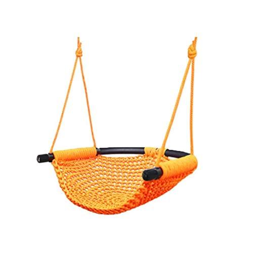 LQW HOME-balançoires Hamac Corde en Plein Air Filet De Poche Swing Chaise Tissé Suspension Panier Bébé Lit Net Adulte Intérieur Ménage Enfants (Color : Orange, Taille : 45 * 43cm)