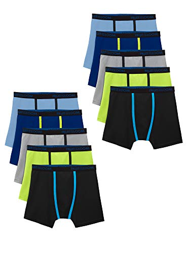 Fruit of the Loom Cooling Breathable Boxer Briefs, Boy - 10 Pack - Micro Mesh, X-Large