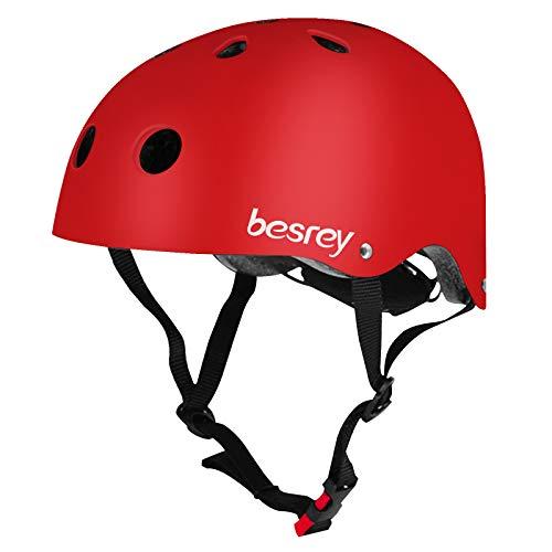 besrey Fahrradhelm Kinder Helmet Kinderhelm CE-Zertifizierung Helm für 3-5 Jahren alt Kinder Junge für Sport wie Fahrrad Scooter Roller Inlineskaten Skateboard - Rot