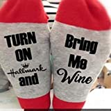 Whmyz Calcetines suaves de Navidad Letras Impresas de Invierno de las Mujeres Calientes Calcetines se encienden y traen me vino-SK1614RD