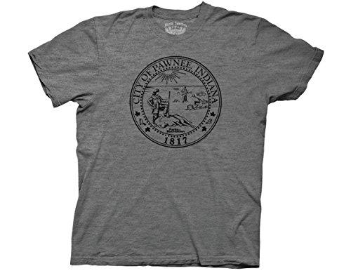Ripple Junction Parks & Recreation Adult Unisex Pawnee Seal Light Weight Crew T-Shirt LG Heather Graphite