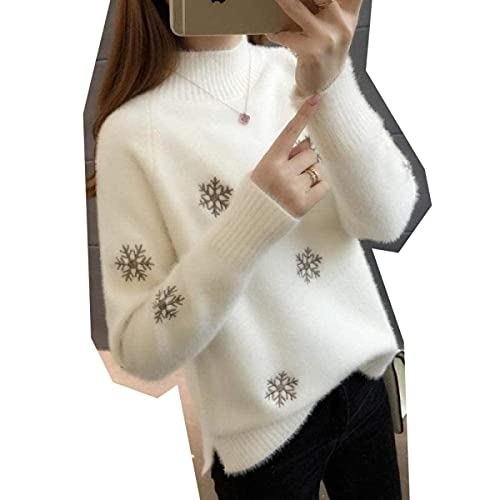 CharlieRGill Suéter de punto para mujer, impermeable, visón medio, cuello alto, espesar cálido, abrigo, marrón claro