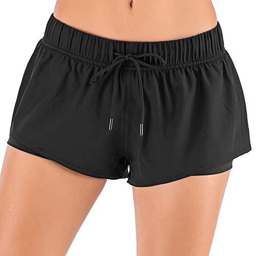 Pantalones Cortos Deportivos para Correr antideslumbrantes de Doble Capa de Verano para Mujer, Pantalones Cortos de Sudor de Entrenamiento de Yoga de Secado rápido Transpirables con Cintura 3X-Large