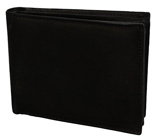 2Store24 Echt Leder Herren Geldbörse/Geldbeutel/Portemonnaie/Querriegel in schwarz