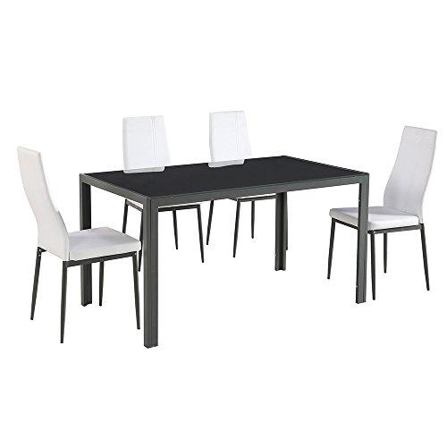Cribel Jolly Tavolo/Sedie, Metallo/Similpelle, Nero/Bianco, 140x80x72 cm