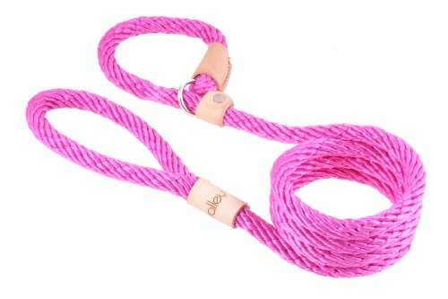 Alvalley Hot Pink Sport Slip Lead with Leather Stop for Dogs Made of Strong Multifilament Rope 13mm X 183cm or 1/2in X 6ft