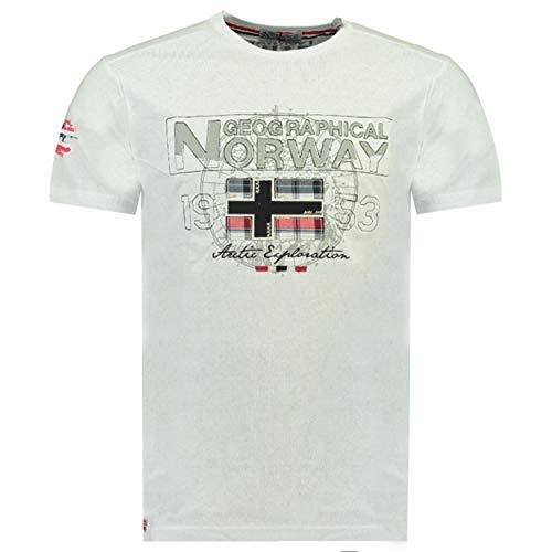 Geographical Norway JOLYMPIA - Camiseta Algodón para Hombre - Camiseta Modelo Hombre con Logo - Shirt Regular Manga Corta - Camisetas Cuello Clasica Casual - Regalo Original para Hombre (Blanco M)