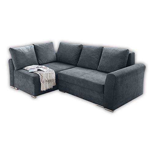 JASPER Bequemes Sofa mit Schlaffunktion, Microfaserbezug Anthrazit - Ausziehbare Couch mit klappbarem Bettkasten inkl. Topper - 246 x 84 x 164 cm (B/H/T)