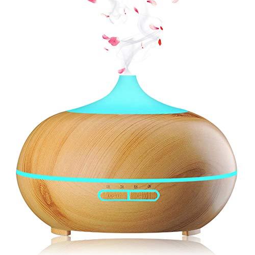 Phiraggit Aroma Diffuser, 550ml Diffusor Aromatherapie Luftbefeuchter Ultraschallvernebler Elektrischer Duft Lampenöle Diffusor mit 7 Farben LED, Büro, Yoga, Spa usw (Hellbraun)