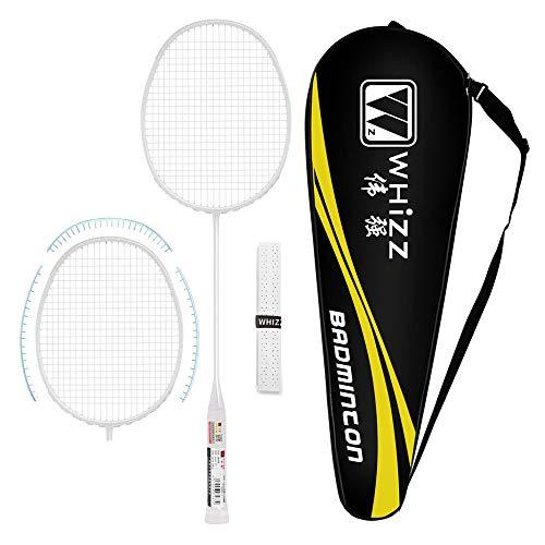 Whizz Kratzfestes Design Badmintonschläger mit Tasche Griffband, One Piece 100% Graphit (Weiß)