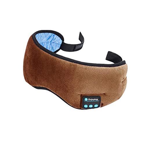 YYR Schlaf-Kopfhörer Bluetooth, 3D-Schlafmaske, Bluetooth 5.0 Wireless Music Augenmaske, mit eingebautem Lautsprecher Mic freihändig, die für Schlaf, Joggen, Yoga,Braun