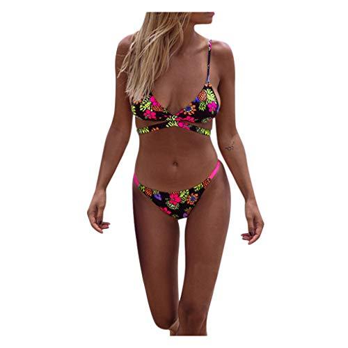Bikini Set Damen Crossover Strap Geteilter Badeanzug Ethno Bedruckte Tropischer Stil Zweiteilige Bademode Sexy Bademode Schwimmanzug Swimwear Strandmode (Schwarz, L)