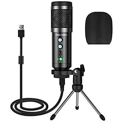 Computer USB Microphone with Tripod, ansinna Condenser Recording PC Microphone for Mac & Windows,Professional Plug and Play Studio Microphone for Gaming, Podcast,Chatting, YouTube Videos,and Streaming