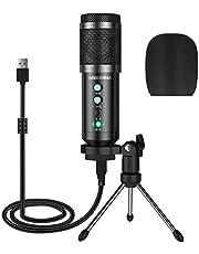 Microfono a Condensatore, ansinna Microfono USB Plug-And-Play per Giochi, Podcast, Youtube, Riproduzione Vocale e Multimediale in Streaming