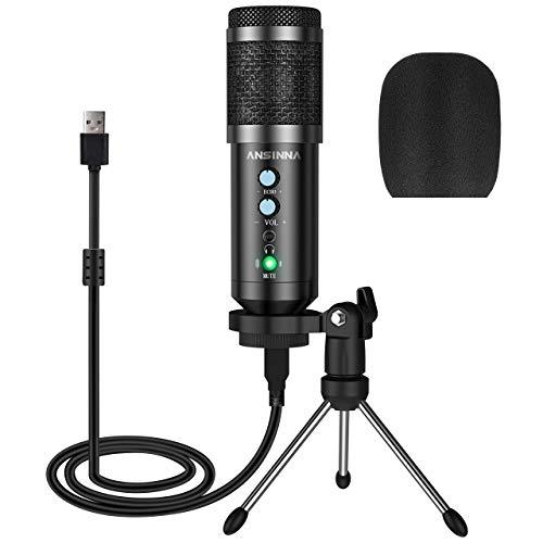 Microfono a Condensatore, ansinna Microfono USB Plug-And-Play per Giochi, Podcast, Youtube, Riproduzione Vocale e Multimediale in Streaming (Nero)