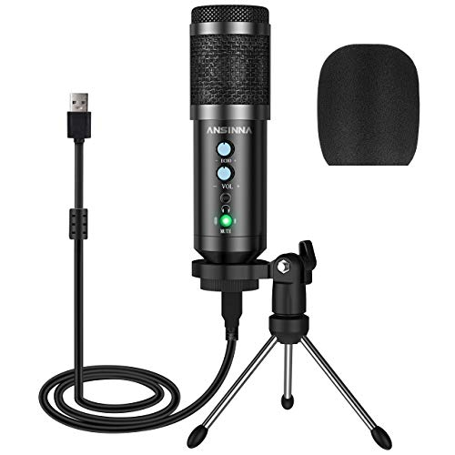 USB Mikrofon Kondensator Mikrofone mit Stander und Kopfhorer Uberwachungsfunktion Plug and Play Aufnahme Microphone PC fur Podcast Studio Streaming Broadcast YouTube Recorder