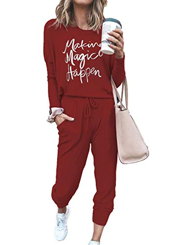 ETCYY NEW Women Sweatsuits Sets Two Piece Outfit Long Sleeve Tracksuits Sweatsuit Sets (WineLet, Small)