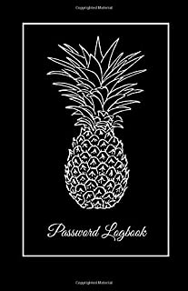 Password Logbook: Internet Address Keeper Organizer & Email Reminder Logbook With A - Z Tabs Computer Username Log-In Book Online Shopping Website ... - Classy Black Cover Pineapple Sketch Design