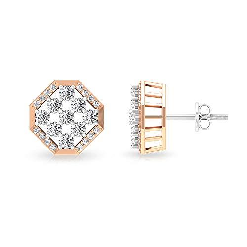 Aretes de diamante octágono redondo certificado IGI de 0,96 ct, HI-SI diamante clúster novia geométrico boda pendientes, madre cumpleaños aniversario,10K Oro blanco, Par