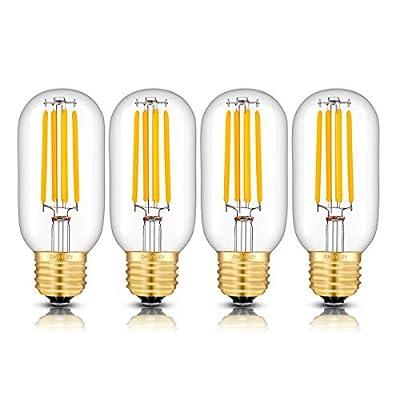 OMAYKEY 5W Dimmable LED Tubular Bulb 50W Equivalent 3000K Soft White 500LM E26 Base, Vintage Edison Tubular T45x110mm Clear Glass LED Filament Light Bulbs, 4 Pack
