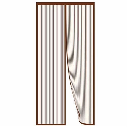 ERPENG Cortina Anti-Mosquitos 130x210cm Adsorción magnética, Cortina Ultrafina Cortina Magnética de Puerta Adsorción magnética Plegable para Puertas de Madera, Puertas de Hierro, Marrón