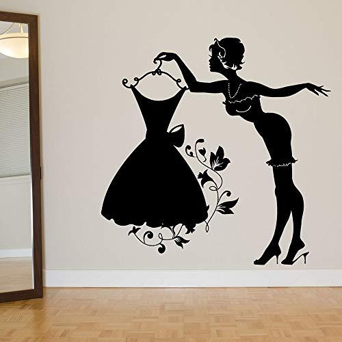 Diseño Falda Vestido Percha Ropa Mujer Sexy Modelo Chica Etiqueta de la pared Vinilo Arte Calcomanía Dormitorio Sala de estar Tienda Tienda Estudio Decoración para el hogar Mural