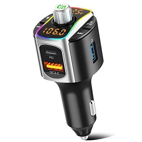 SONRU Transmisor FM Bluetooth 5.0 Coche Mechero, Manos Libres para Coche, Reproductor MP3 Adaptador con USB PD3.0 y QC3.0, SIRI/Google con Luz Colorida
