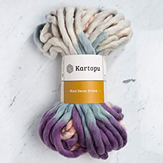 1 Skein Kartopu Melange Wool Decor Prints, 100% Superwash Wool, 7 Oz (200g) / 32 Yrds (30m), 7 Jumbo, Multicolor - D3155