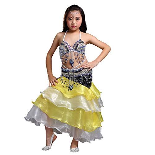 Calcifer - Ovillo de Lana de Corea del Sur para Baile, Baile, Disfraz de Baile, 3 Piezas, cinturn, Falda, Plateado