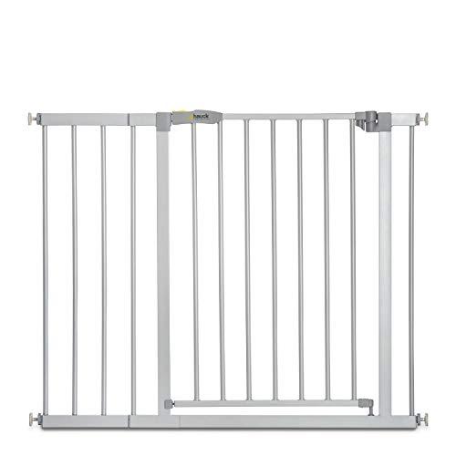 Hauck Stop\'n Safe 2 Türschutz-/Treppengitter, 96-101 cm, ohne Bohren, erweiterbar mit Verlängerungen von 9 cm und 21 cm bis 122 cm, kombinierbar mit Y-Spindeln, Metall, beidseitig schwenkbar, silber