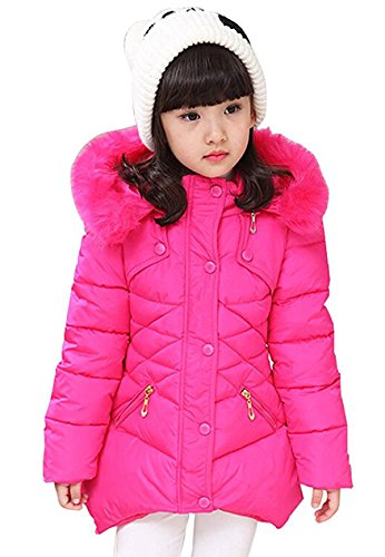 """Child Kids Girls Winter Warm Jackets Coat Snowsuit Hooded Windbreaker Outwear with Soft Fur Hoodies for 3-12 Years Old(Rose, 5-6T/(Fit Height:46""""-49"""")/Tag130)"""