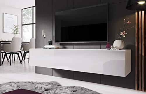 Preisvergleich Produktbild Das Moderne Lowboard Ziga 160cm,  Fernsehschrank,  Fernsehtisch,  TV-Möbel (Weiß im Hochglanz) 3 Farben