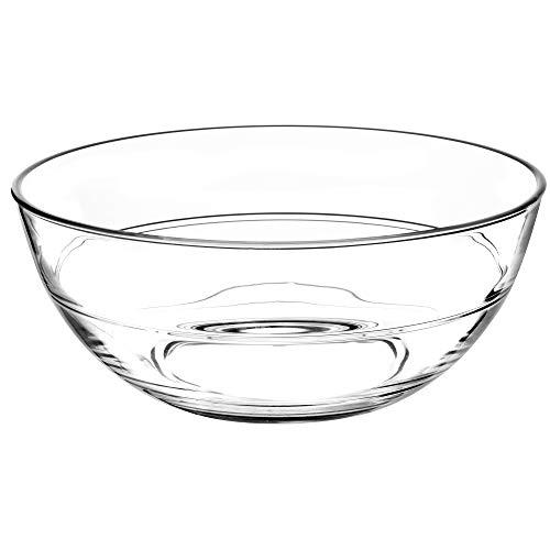 KADAX runde Glasschale, Glasschüssel, Salatschüssel, Schale für Obst, Salat, Dessert, Tiefe Salatschale, Obstschale aus hochqualitativem Glas, Tischdeko, transparent (17cm)