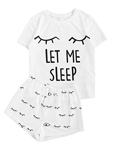 WDIRARA Women's Sleepwear Closed Eyes Print Tee And Shorts Pajama Set White S
