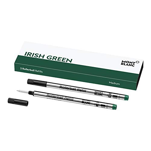 Montblanc 124486 - Refill (M) per penne roller e fineliner, Fortune Green (Verde quadrifoglio) – Ricariche di alta qualitá, punta media, 1 x 2 Refill
