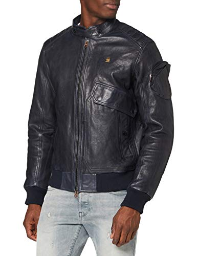 G-STAR RAW Mens Haworx pdd JKT Leather Jacket, Mazarine Blue B508-4213, Medium
