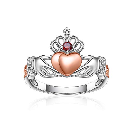 Sterling Silver Heart Crown Celtic Claddagh Ring for Women Matching Engagement Promise Crystal Vintage Rose Gold Dainty Love Couple Valentines Size 7 Rings