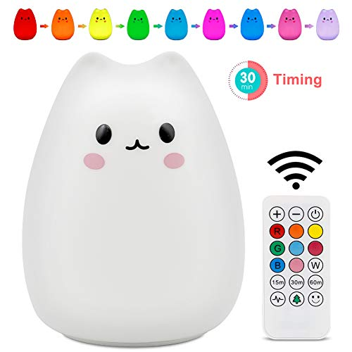 Night Light SCOPOW Cute Soft Remote Control Silicone Cat Light is The Best Holiday Gift for Kids