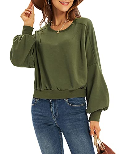 Womens Crewneck Pullover Crop Top Sweatshirt with Drop Shoulder Long Lantern Sleeve Ribbed Hem Cuffs Army Green XL